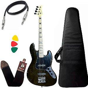Kit Baixo Strinberg Jbs50 Preto TBk Jazz Bass 4 cordas Capa