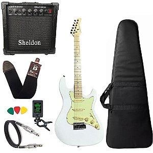 Kit Guitarra Strinberg Sts150 Branco Amplificador Sheldon