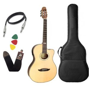 Kit Violão Flat Giannini Gnf3 Ceq Nylon Natural Fosco Capa