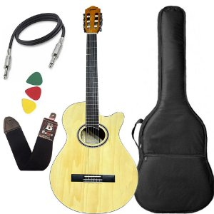 Kit Violão Nylon Giannini Gnf1d Ceq Natural Brilhante Capa