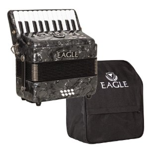 Acordeon Eagle Ega8b Preto 8 Baixos 22 Teclas com Capa Bag