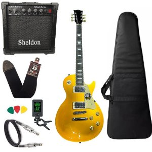 Kit Guitarra Les Paul Michael GM750N Dourado GD amplificador