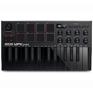 Teclado Controlador Midi Akai mpk mini black Usb 25 Teclas