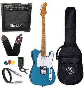 Kit Guitarra Sx Stl50 Telecaster Pacific Blue amplificador
