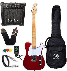 Kit Guitarra Sx Stl50 Telecaster Vintage vermelha + Cubo