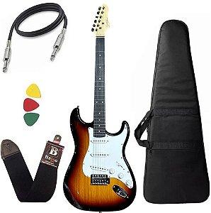 Kit Guitarra Giannini G100 Sunburst Branco + Capa