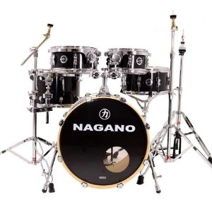 Bateria Nagano World new modern ebony preta bumbo 20