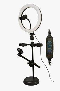 Ring light gravação tripe mesa iluminação suporte 3 celular
