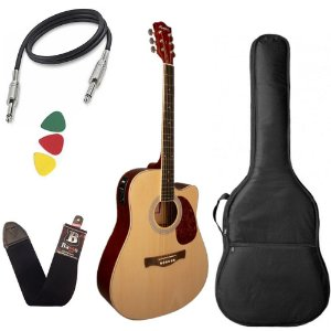 Kit Violao Tagima Memphis Md18 Natural Satin Aço Capa Bag