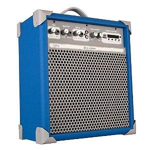 Caixa Amplificada ll audio Up8 azul 55w Multiuso Bluetooth
