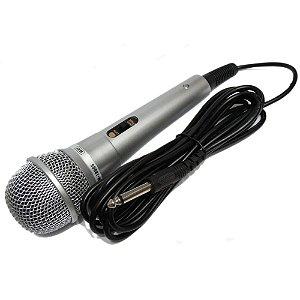 Microfone Dinâmico Caixa Som Karaokê Mxt M1800s Cabo 3M P10