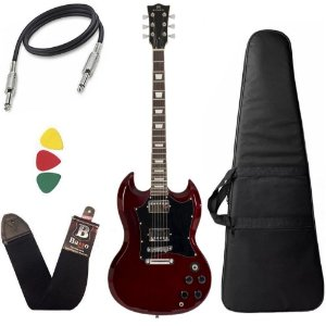 Kit Guitarra SG Michael Hammer GM850N WR Vinho Capa bag