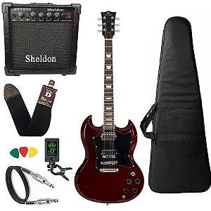Kit Guitarra SG Michael Hammer GM850N WR Vinho amplificador