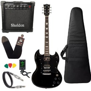 Kit Guitarra SG Michael Hammer GM850N BK Preta amplificador