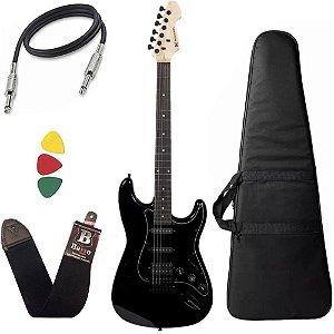 Guitarra Michael GM237N Metallic Black Strato Power Bag