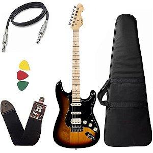 Guitarra Michael GM237N Sunburst Black Strato Power capa bag