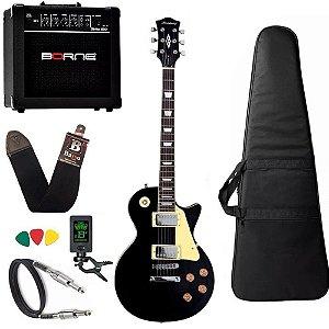 Kit Guitarra Les Paul Strinberg Lps230 Bk Preta Cubo Borne