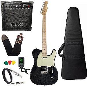 Kit Guitarra Michael GM385N Metallic Preto Amplificador