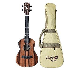 Ukulele Elétrico Seizi Bora Bora Crush Ebony Concert Bag