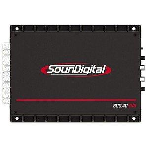 Modulo Amplificador SounDigital 800 Rms SD800.4D 4 Canais 1 Ohm 2 Ohms