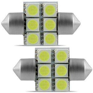 Lâmpada Torpedo 6 LEDS 31mm 4W 6000K 12V Branca Aplicação Luz de Placa e Teto