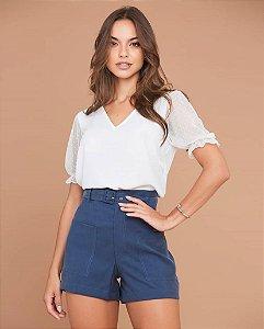 Shorts Microcel com Cinto Azul