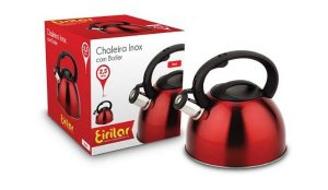 Chaleira Inox com Apito Eirilar 2,5 litros Vermelha