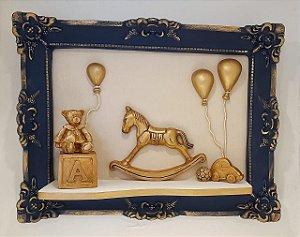 Quadro Cavalinho Dourado com Bexigas