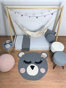 Tapete Infantil Crochê Ursa Cinza