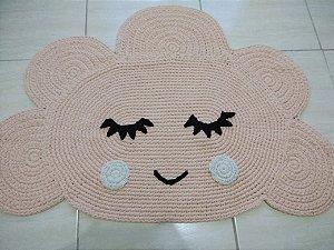 Tapete Infantil Crochê Nuvem Rosa