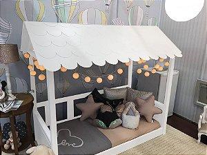 Mini Cama Casinha Montessoriana Madeira Maciça Branco Fosco