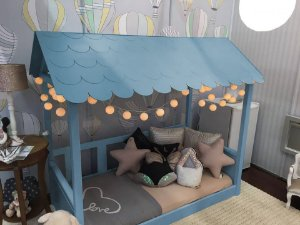 Mini Cama Casinha Montessoriana Madeira Maciça Azul