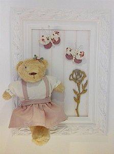 Quadro Ursinha Borboletas com Flor