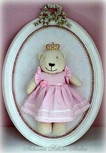 Quadro Ursa Princesa Rosa com Pérolas