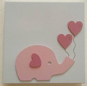 Quadro Elefantinha Corações