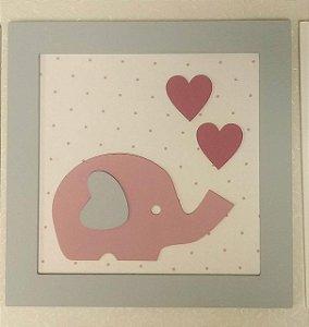 Quadro Elefantinha Rosa com Corações