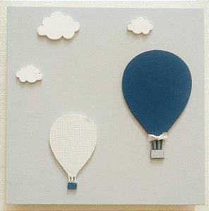 Quadro Balão Azul e Branco