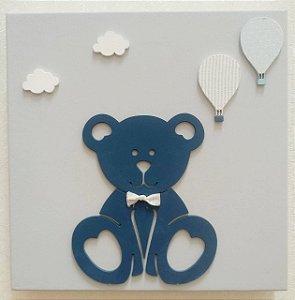 Quadro Urso Balões Azul e Branco