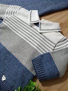 Saída Maternidade Listrado Jeans