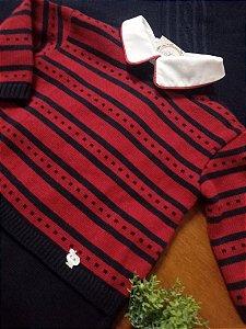Saída Maternidade Listras e Quadradinhos Azul Profundo e Vermelho