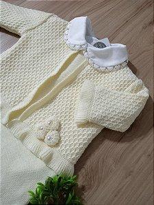 Saída Maternidade Macacão Flor de Tricot