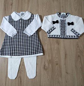 Saída Maternidade Vestido Bolero Pied Poule