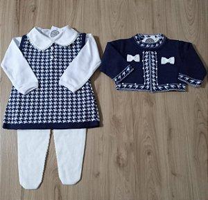 Saída Maternidade Vestido Bolero Pied Poule Azul Marinho