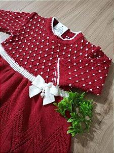Saída Maternidade Vestido Casinha de Abelha Vermelho