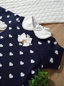Saída Maternidade Corações Marinho e Branco