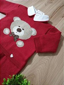 Saída Maternidade Macacão Urso Vermelho