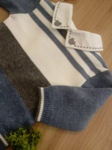 Saída Maternidade Macacão Listras Largas Jeans
