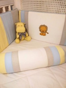 Kit Berço Leão Azul Amarelo e Cinza