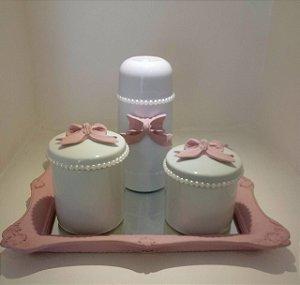 Kit Higiene Rose com Pérolas e Laços