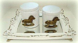 Kit Higiene Cavalinho Dourado e Branco
